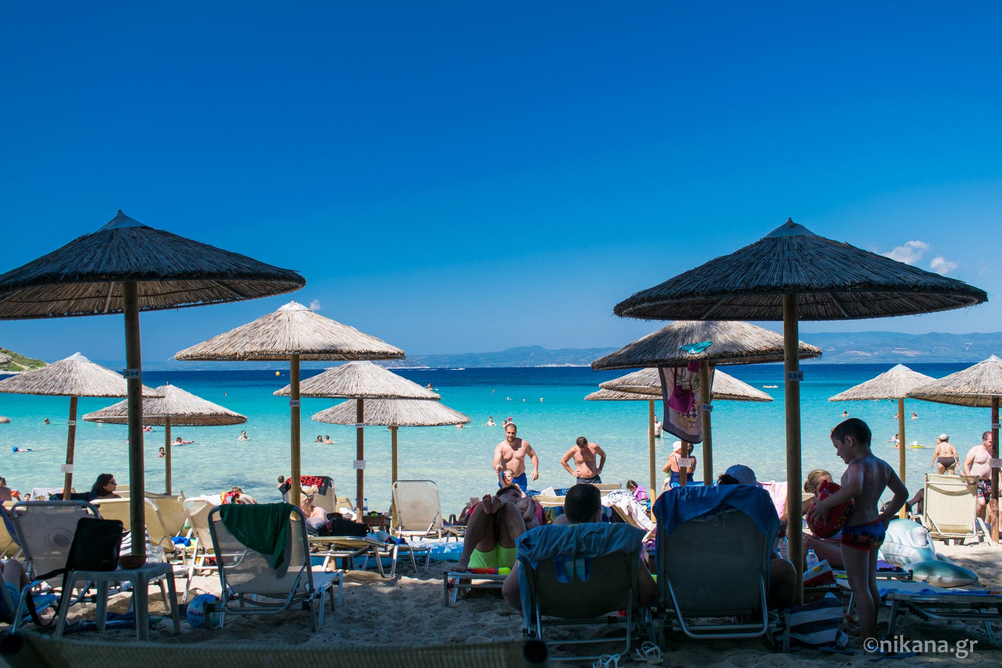 Chrousso bay and Xenia beach Kassandra tourist guide Nikanagr